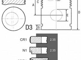 Piston si segmenti tractor Fiat 24/32-111